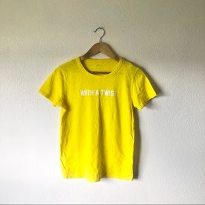 "NWT J Crew bright yellow ""With a Twist"" t shirt"